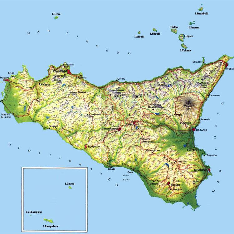 Sicilia E Isole Cartina.67 Frasi Sulla Sicilia