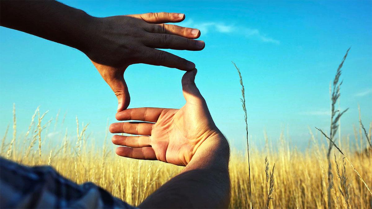 quadrato con le dita guardando verso un campo di grano