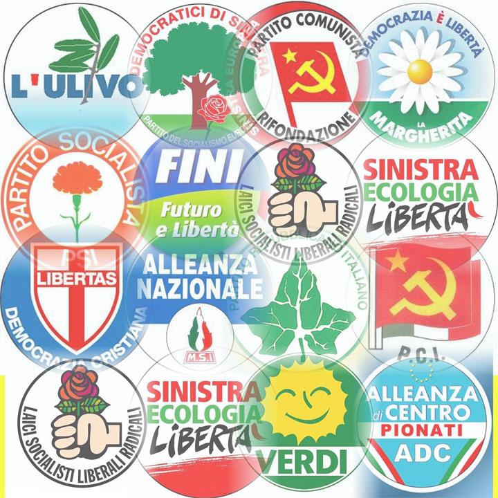 Simboli di numerosi partiti politici italiani
