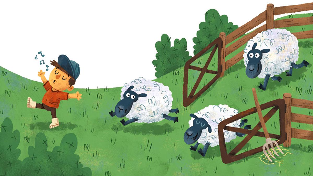pecore corrono sul prato